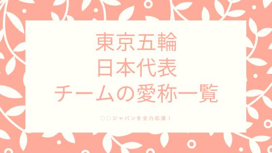 東京オリンピック 日本代表チーム愛称